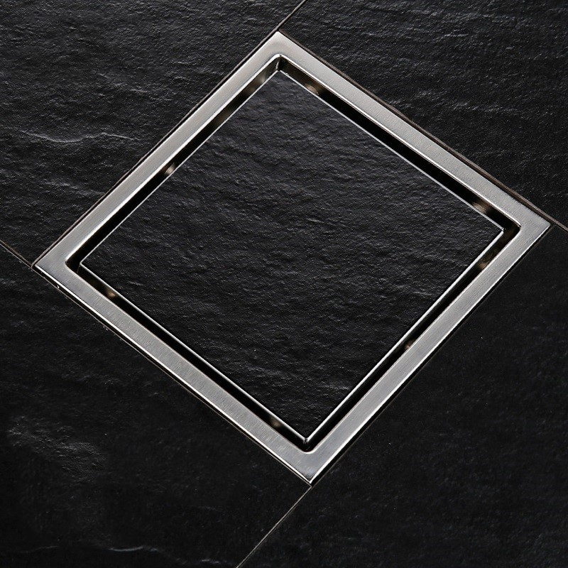 Square Shower Floor Drain with Tile Insert Grate Made of Sus304 Stainless Steel , 6 inch Invisible Look or Flat