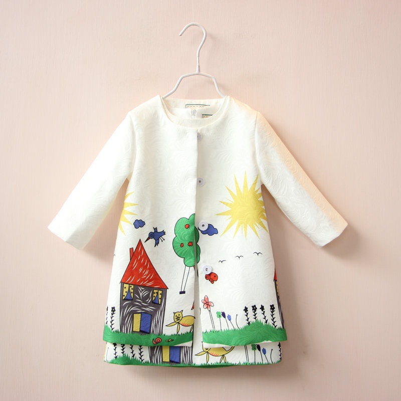 Hot Sale Baby Girls Clothing Set Coat +Dress 2018 Spring Autumn O neck Kids Jackets2 8Y Cotton Print Cute Children Clothing