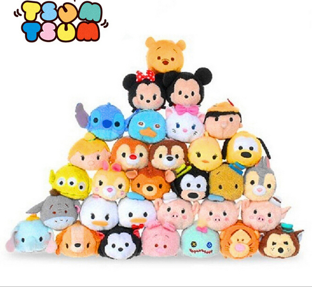 9cm Tsum Tsum Mini Plush Toys Doll Screen Cleaner Mickey Minnie Winnie ariel alice dumbo baymax Tsum Keychain Pendant