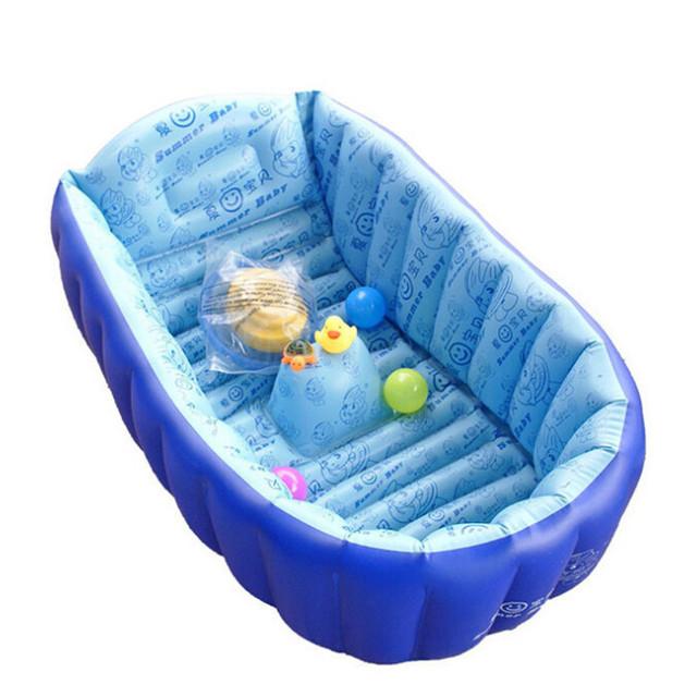 Inflável do bebê piscina inflável banheira banho de chuveiro de bebê engrossar segurança Pad dobrável crianças bacia