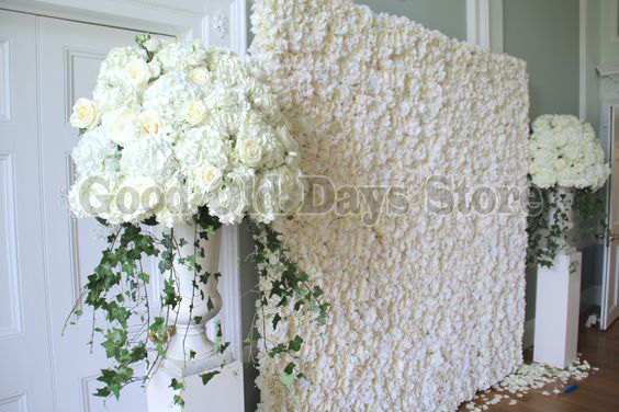 White Wedding Flower Wall Flower Backdrop With Metal Pipe