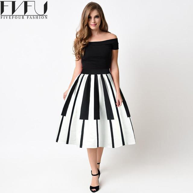 4f09d6a25 € 22.6 |Style 2017 Nouvelle Mode d'été Femmes Jupe Piano Impression Haute  taille Noir Jupe robe de Bal Mi Occasionnel Lâche Jupe Plus taille dans ...