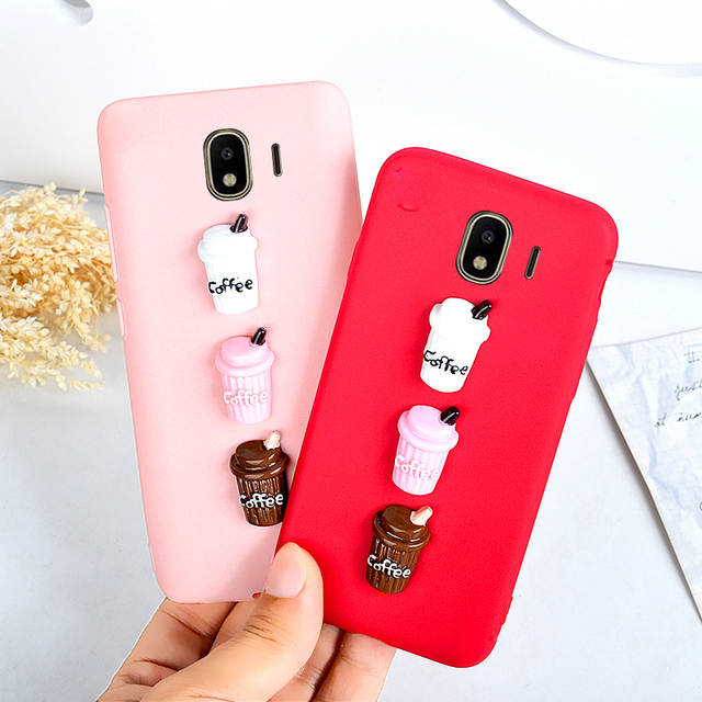 competitive price 06510 e5059 J4 J6 J2 PRO 2018 Case For Samsung Galaxy J3 J5 J7 2016 2017 Back Cover  Silicone Cases Cute Milk Coffee Protective Shell Girls