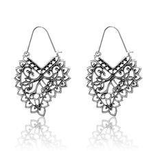 Hello Miss  new ethnic style earrings retro fashion hollow geometric pattern heart-shaped womens earr