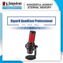 Kingston-Micrófono electrónico profesional HyperX QuadCast, deportivo, para ordenador en directo, rojo, juego de voces