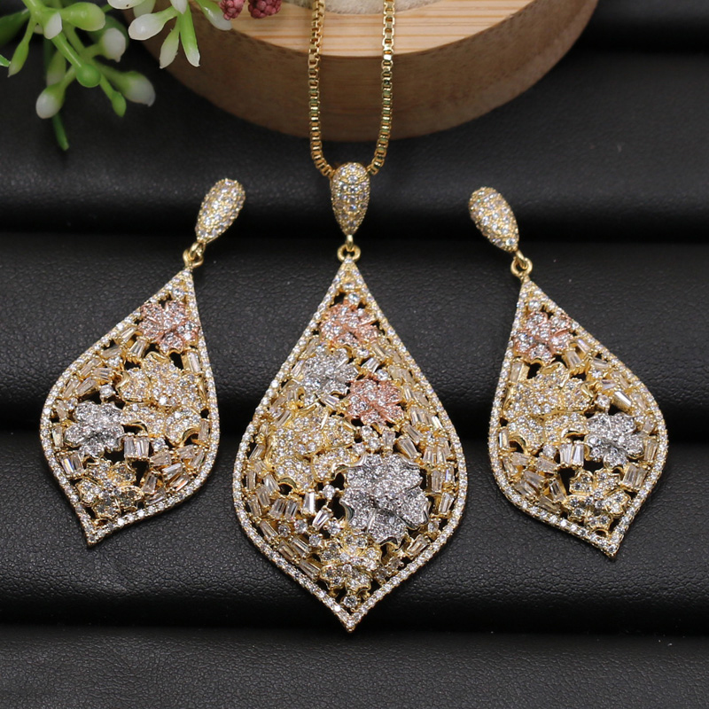 Lanyika Jewelry Set Multi Zircon Micro Paved Flower Water Drop Necklace with Earrings for Anniversary Wedding Bridal Best Gift