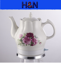 Free shipping! High quality electric ceramic kettle, tea pot, water kettle, Red Rose, 1200W, 220V, 1.5L