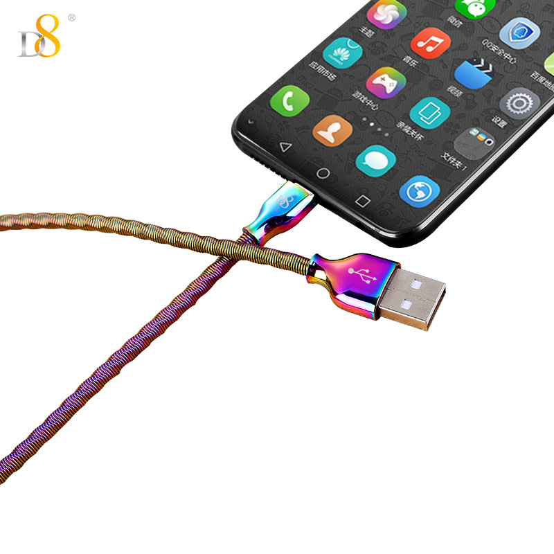 D8 USB Type C Cable for Xiaomi A1 Dazzle Color Metal Type C Data line for Huawei Mate 10 Pro Fast Charge USB Cable For Samsung 9