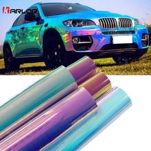 10cm x 100cm holograficzne Rainbow Chrome naklejki samochodowe laserowe poszycia karoseria folia winylowa DIY samochodów Car Styling Decaration