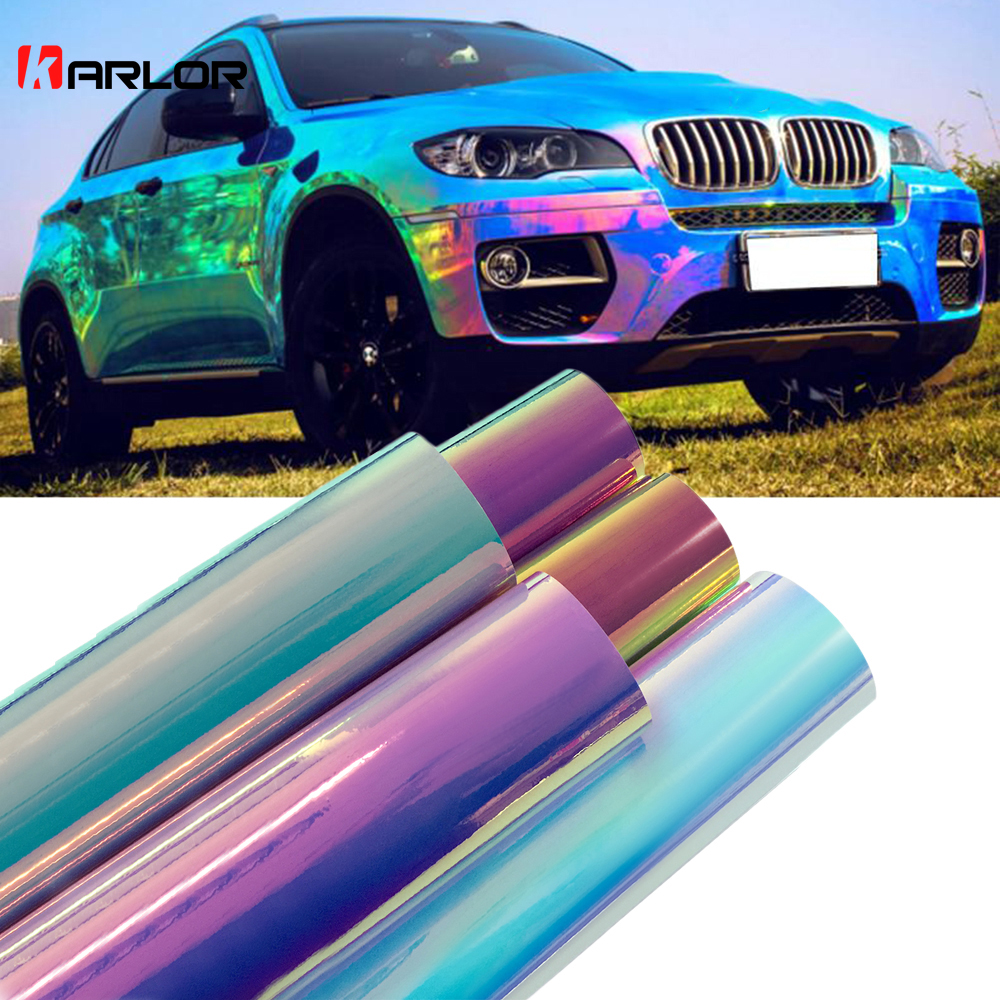 10cmx100cm Holographic Rainbow Chrome Car Stickers Laser Plating Car Body Wrap Vinyl Film DIY Automobiles Car Styling Decaration-in Car Stickers from Automobiles & Motorcycles
