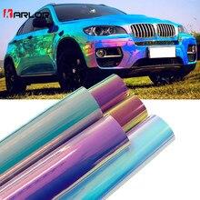 Autocollants holographiques chromés arc-en-ciel pour voiture, 10cm x 100cm, placage Laser pour carrosserie de voiture, bricolage, Automobiles, décoration
