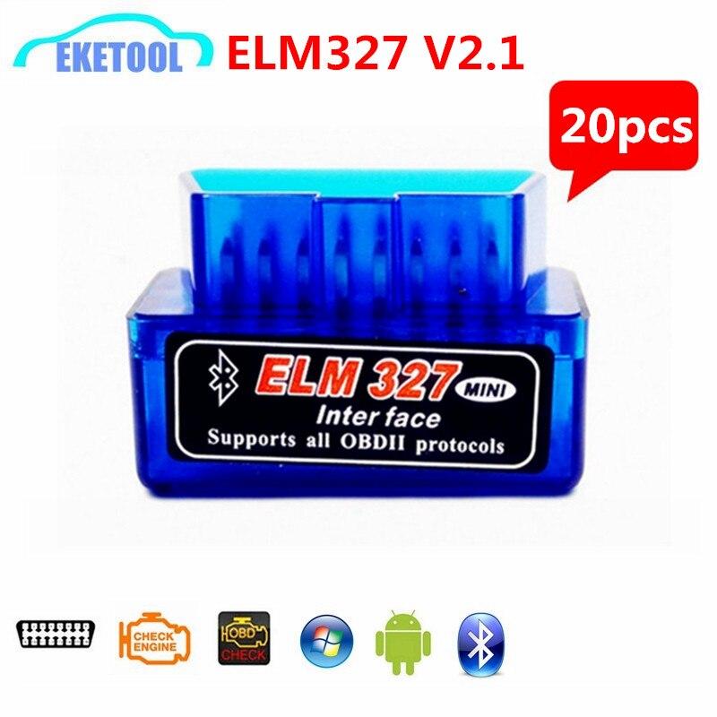 Prix pour 20 pcs/Lot Auto OBD Lecteur de Code ELM327 Bluetooth V2.1 Sans Fil Fonctionne sur Android Toruqe OBDII Professionnel Diagnosic Outil ELM 327
