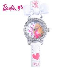 2017 Disney Barbie Kids Reloj Niños Reloj de Manera de La Princesa Linda Niñas de Cuero reloj de Pulsera