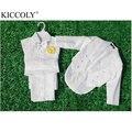 6-36Month Crianças Blazer Formal Prom Casamento Bebê Menino Ternos Preto/Branco Jaqueta + Camisa + Calça + Cinto + Bow Tie 5 pcs Conjuntos de Roupas Miúdo