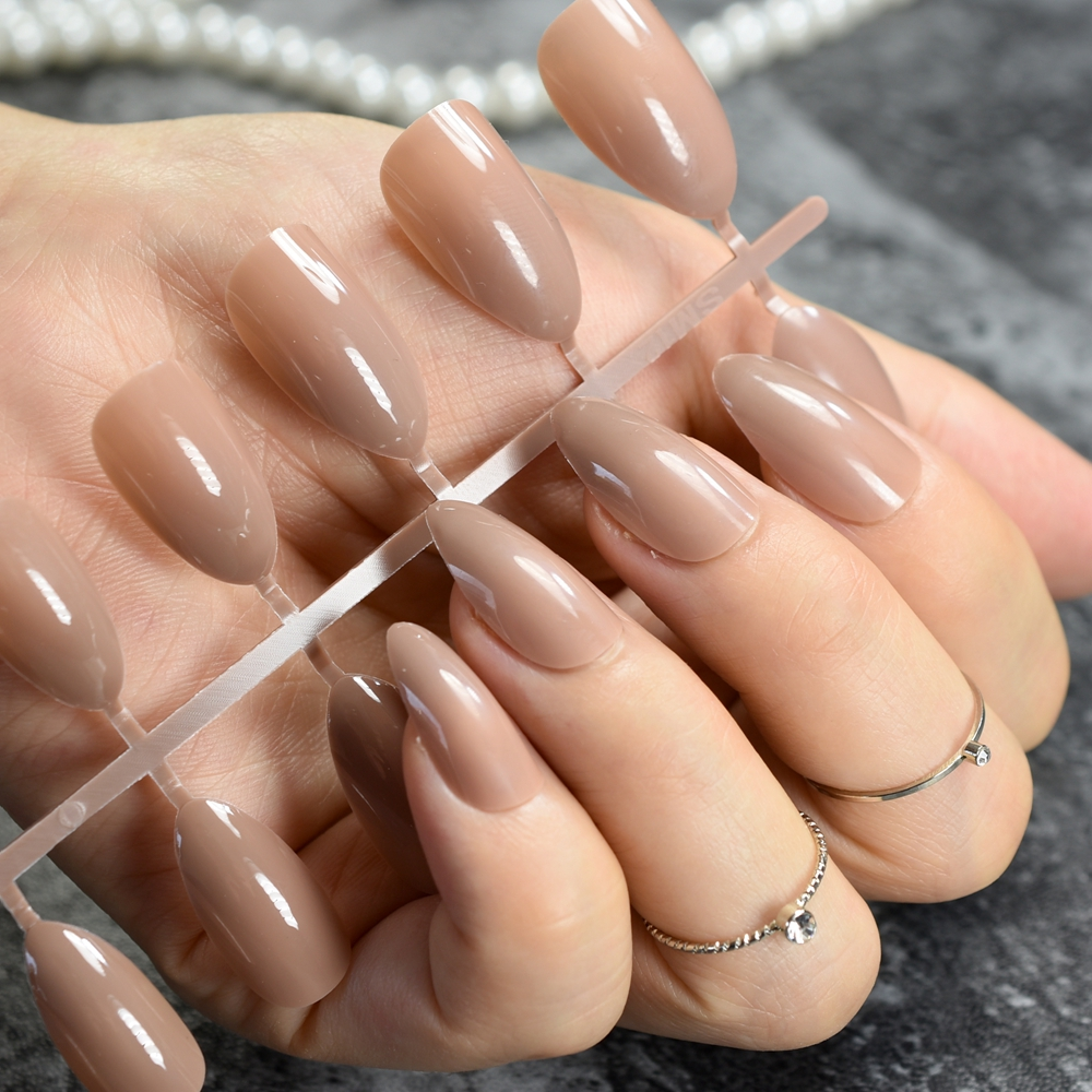 Oval Sharp end Stiletto False Nails Coffee Brown Color Faux Ongles ...