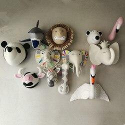 Animal éléphant cerf zèbre lapin tigre tête montage mural jouets en peluche chambre décor feutre œuvre tenture murale poupées accessoires Photo