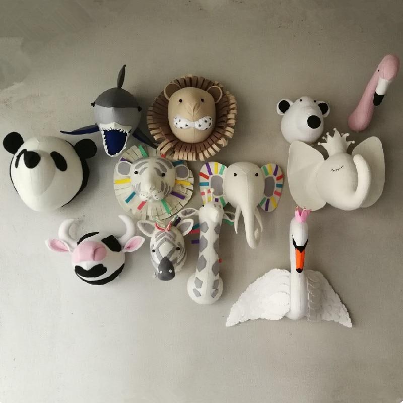 Animal Elephant Deer Zebra królik głowa tygrysa naścienna wypchane zabawki dekoracja sypialni filc grafika ścienna wiszące lalki rekwizyty fotograficzneprops photoprop mountprops decoration -