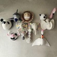 Animales elefante ciervo cebra conejo Tigre cabeza juguetes de peluche para montar en la pared, decoración para dormitorio, arte de fieltro, figuras colgantes de pared, accesorios para fotos