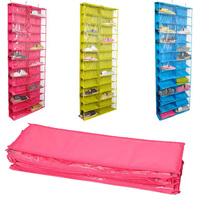 Useful Closet Ware Clear Over The Door 26 Pocket Shoe Organizer Washable Polyester Shoe Rack Hanging