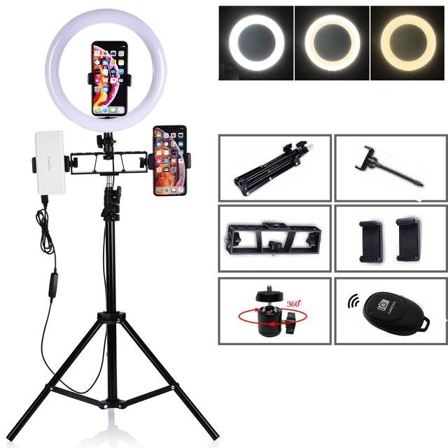 طقم استوديو تصوير فيديو للكاميرا 10 بوصة 120 قطعة مصباح حلقة LED صور التصوير عكس الضوء حلقة USB مصباح الفقرة 200 سنتيمتر ترايبود