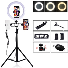 Studio kit Camera Phone Video 10 inch 120 PCS LED Ring Light Photo Photography Dimmable USB Ring Lamp Para 200 CM Tripod