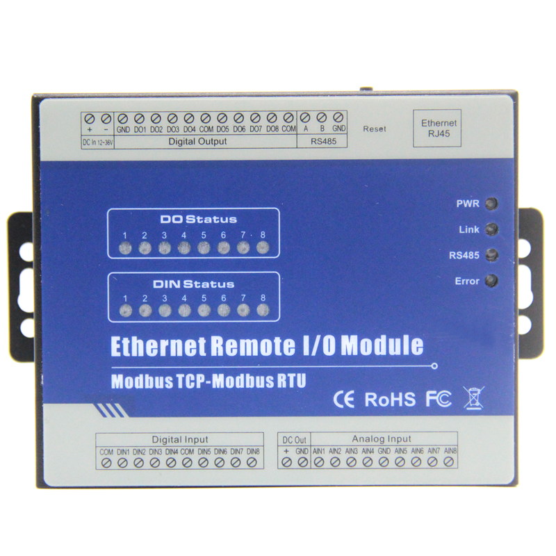 Modbus tcp server di stampa Ethernet A Distanza Modulo IO (8DI + 8DO + 8AI + RJ45 + RS485) modulo supporta lo standard Modbus TCP M160T estensibile