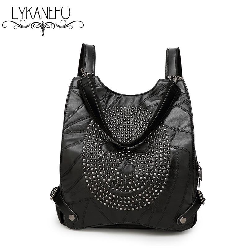 ФОТО LYKANEFU Real Soft Leather Bag Women Backpack School Backpacks for Teenage Girls Shoulders Bag  Mochila Feminina Dollar Price