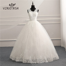 Vestido de novia con apliques de encaje Vintage coreano con cuello en V, vestido de novia personalizado de talla grande, vestido de novia elegante de moda con foto Real CC