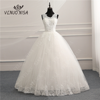 V-Neck Korean Vintage Lace Appliques Ball Gown Wedding Dresses Customized Plus Size Bridal Dress Real Photo Fashion Elegant CC - discount item  32% OFF Wedding Dresses