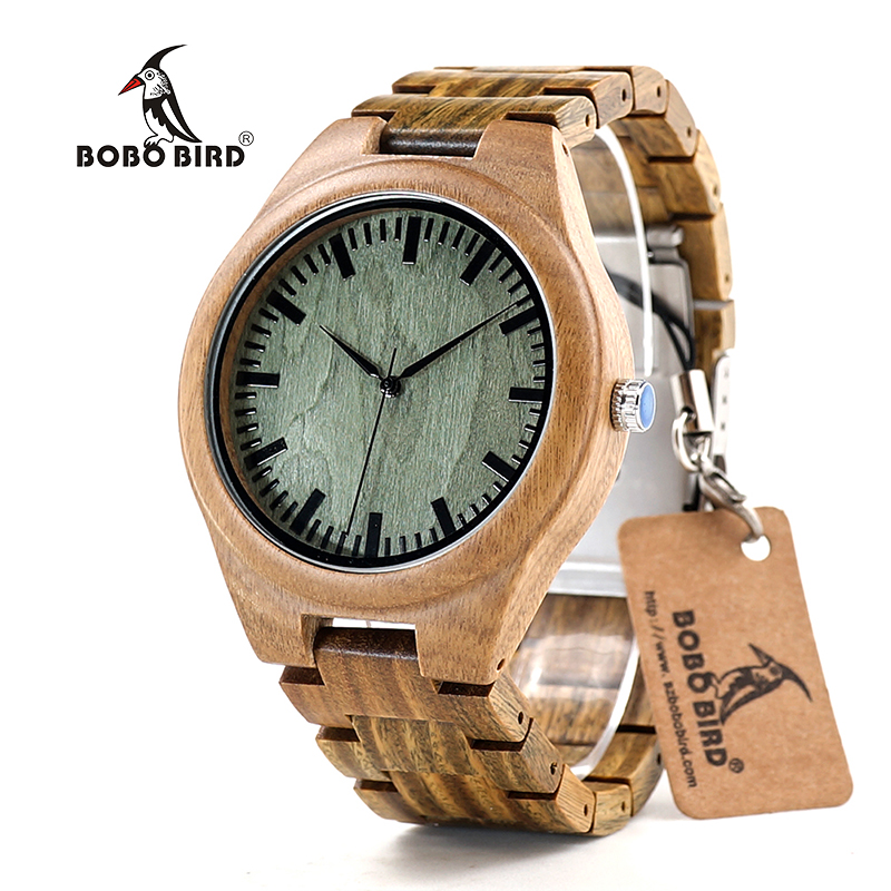 BOBO BIRD CdG19 Flavoty Discolor Mens Watches under the Sun Green Sandalwood Quartz Watches for Men