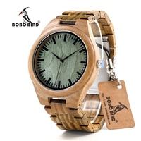 BOBO VOGEL CdG19 Flavoty Verkleuren Mens Horloges Groene Sandelhout Quartz Mannelijke Horloges met Flauwe geur in Papier Doos Drop Schip