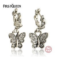 FirstQueen 925 Sterling Silver Butterfly Earrings DIY Earrings For Women Brincos Fine Jewelry Bijoux