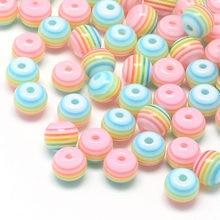 100 шт./лот 6 мм/8 мм розовые круглые прозрачные радужные бусины в полоску с отверстием 1 мм для самостоятельного изготовления ювелирных издели...
