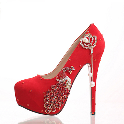 ФОТО 2017 NEW STYLE wedding shoes pure red color crystal decoration a bird of wonder made by crystal to make the shoes more beautiful