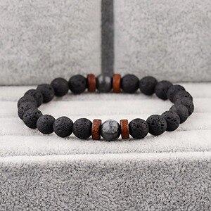 Image 3 - Amader Vintage Black Lava Stone Bracelets Men Meditation Natural Wood Beads Bracelet Women Prayer Jewelry Yoga Dropshipping