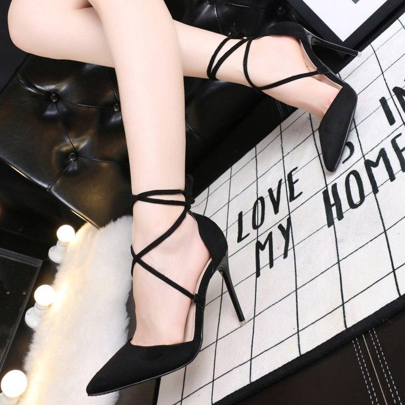 Sexy Black Pink Grey Strappy Stiletto High Heels Red Bottom High ...
