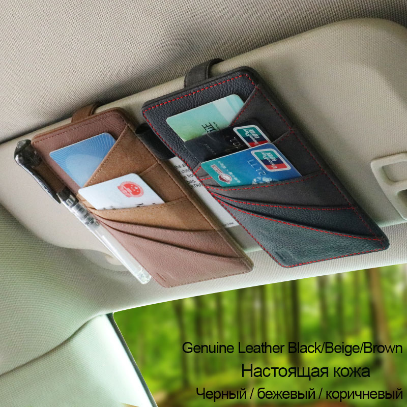 Genuin Leathe Auto Car Sun Visor Organizer Tool Pouch Bag Card Storage Glasses Sunglasses Clip Holder Interior Accessories