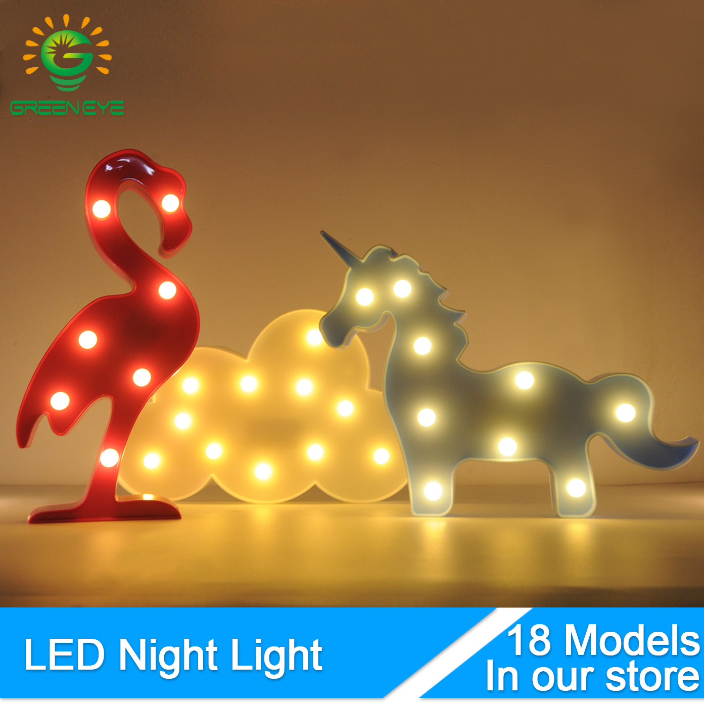 GreenEye Romantic Lovely LED Night Light Tab Cute Lamp Bulb Nightlight For Baby Children Bedroom Home Decor Kids Gift Toy Party cartoon kids light led beside toys kids pendant light lamp kids room night light for children bedroom hanging head lamp