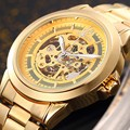 SHENHUA Famous Brand Watch High Quality Alloy Gold Skeleton Automatic Mechanical Wrist Watches For Men Luxury Men Dress Watches