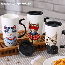 Lovely Gentleman Cat Ceramic Mug Copo Creative Porcelain Tea Coffee Cup Drinkware Home Office caneca