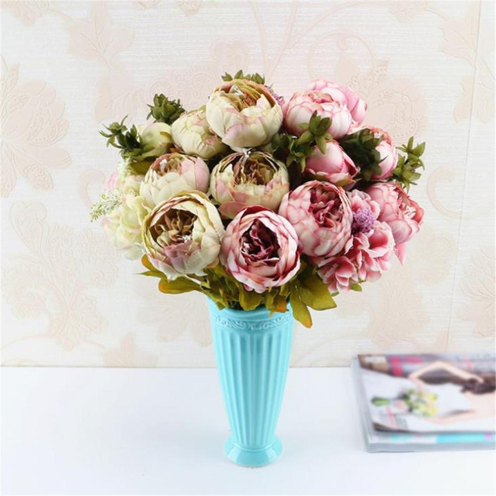 13 Heads Christmas Artificial Flowers Silk Flower European Fall Vivid Peony Fake Leaf Wedding Home Party Decoration Xf30