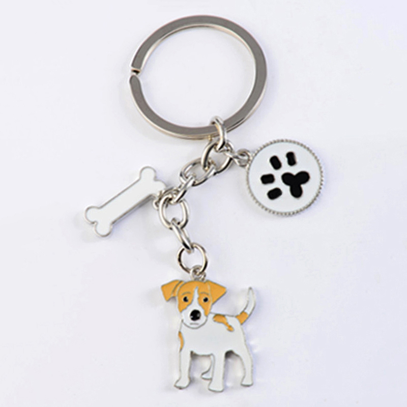 Jack Russell Terrier Key Chains For Women Men Girls Silver Color Alloy Metal Dog Pendant Key Ring Car Keychain Bag Charm Keyring 50 years perpetual calendar keyring keychain silver alloy key ring keyfob decoration 8ou9