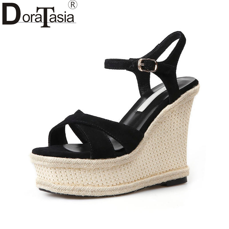 DoraTasia Women's High Heel Wedge Summer Shoes Woman 2018 New Ankle Strap Open Toe Platform Sandals Big Size 32-43 vtota summer pep toe sandals women increased thick heel shoes woman wedge summer shoes back strap platform shoes for ladies