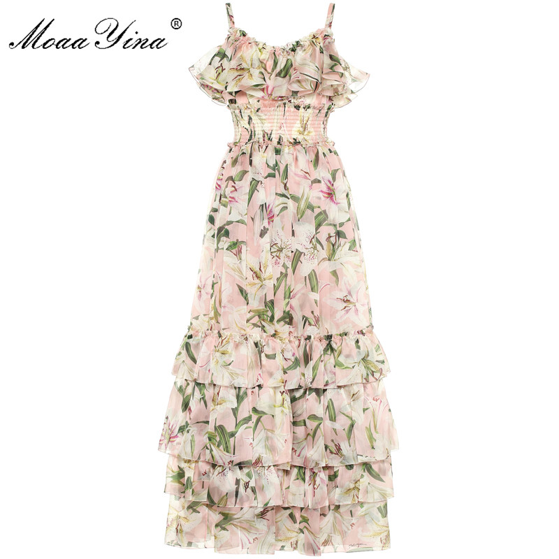 Kadın Giyim'ten Elbiseler'de MoaaYina Moda Tasarımcı Pist elbise Yaz Kadın Elbise Spagetti kayışı zambak Çiçek Baskı Basamaklı Fırfır şifon elbiseler'da  Grup 1