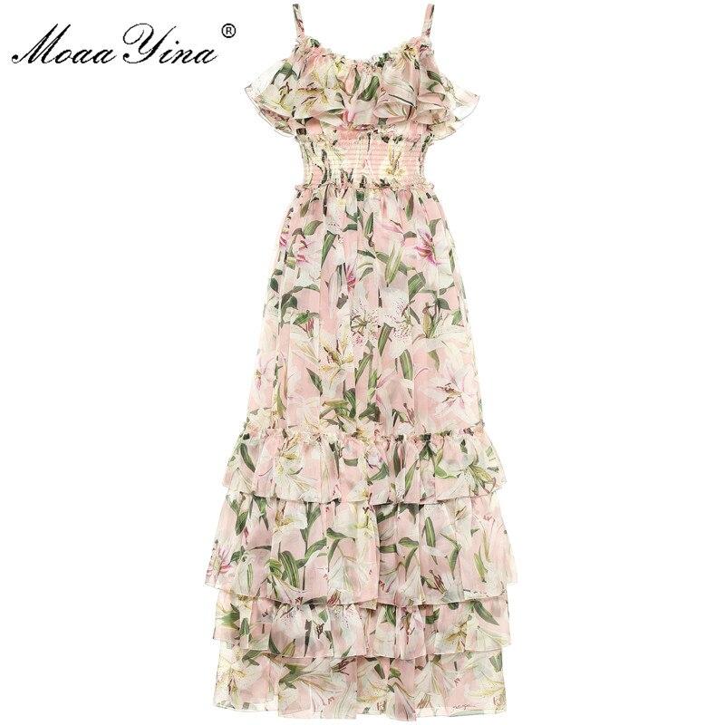 MoaaYina แฟชั่นชุดเดรสฤดูร้อนผู้หญิงสปาเก็ตตี้สายคล้องคอ lily ดอกไม้ พิมพ์ Cascading Ruffle ชุดชีฟอง-ใน ชุดเดรส จาก เสื้อผ้าสตรี บน   1