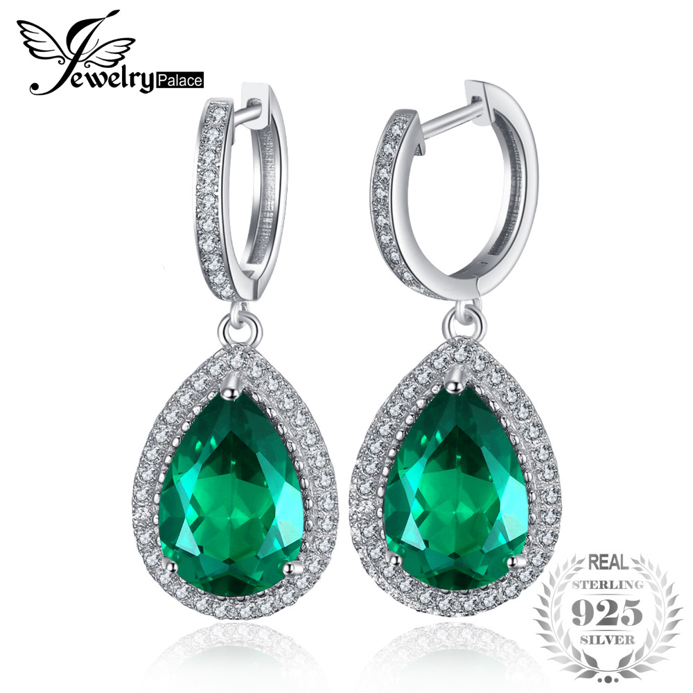 JewelryPalace Luxury Pear Cut 8.4ct Created Green Emerald Clip On Earrings Solid 925 Sterling Silver Fine Jewelry