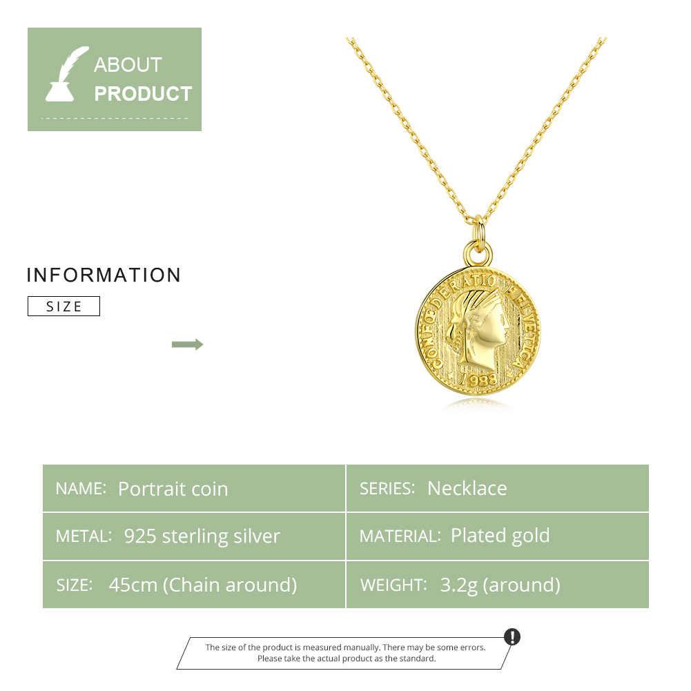 WOSTU 100% 925 סטרלינג שרשרת כסף עגול דיוקן מטבע תרבות זהב צבע ארוך שרשרת שרשרת לנשים תכשיטי CQN339