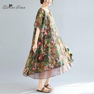 Image 3 - Женское винтажное шифоновое платье BelineRosa, летнее платье большого размера плюс с цветочным принтом, 4XL, 5XL, XMR00107
