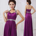 Hot Luxury Elegant Women Sexy Purple Backless Halter Maxi Dress V-neck Off Shoulder Ball Gowns Long  Dress For Party Prom