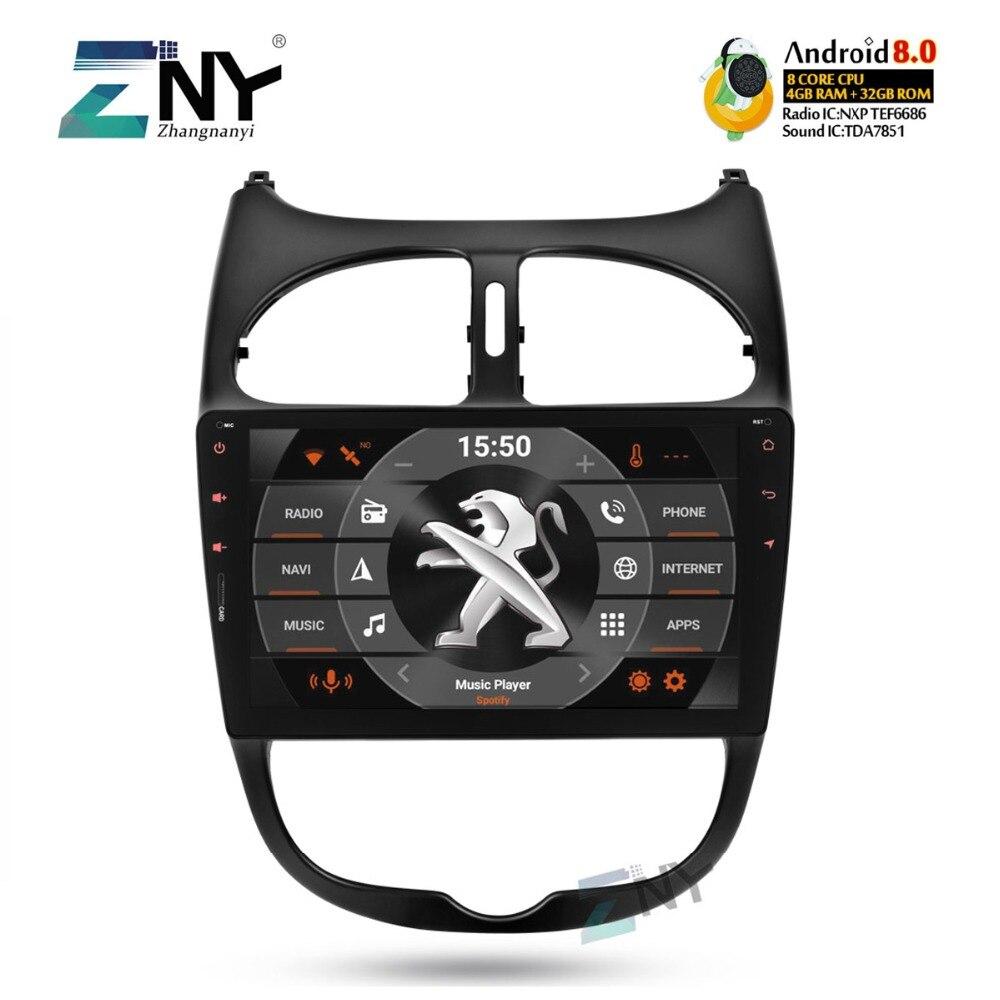 4 GB 9 IPS Android 8.0 Autoradio GPS Pour Peugeot 206 auto-radio FM Audio Vidéo Headunit Navigation WiFi BT caméra de recul No DVD